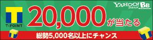最高Tポイント20,000ポイントが当たる!