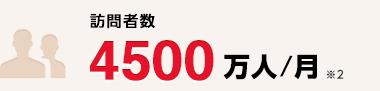訪問者数 4500万人/月 ※2
