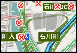 ナビゲーション中に交通規制情報を地図上に表示