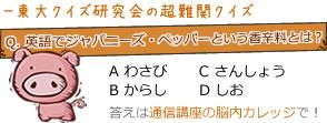 東大クイズ研究会の超難問クイズ Q.英語でジャパニーズ・ペッパーという香辛料とは? A わさび B からし C さんしょう D しお 答えは通信講座の脳内カレッジで!