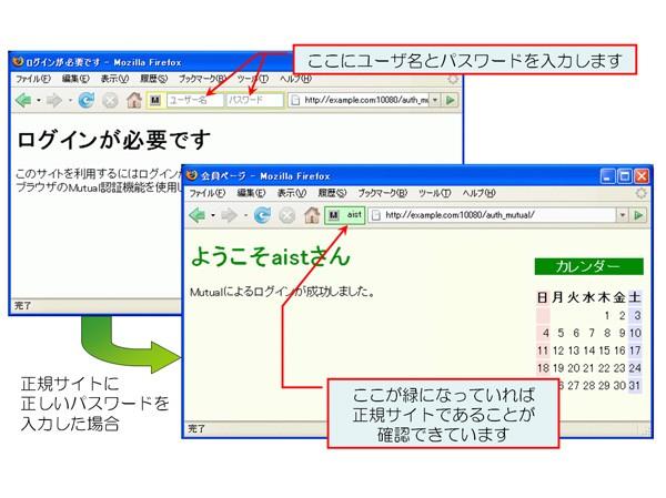 本技術を実装したウェブブラウザの様子