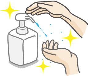 ウイルス感染の予防には手の消毒、除菌が効果的。