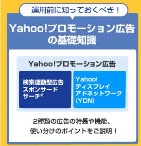 運用前に知っておくべき! Yahoo!プロモーション広告の基礎知識 Yahoo!プロモーション広告の「検索連動型広告スポンサードサーチ(R)」と「Yahoo!ディスプレイアドネットワーク(YDN)」2種類の広告の特長や機能、使い分けのポイントをご説明!