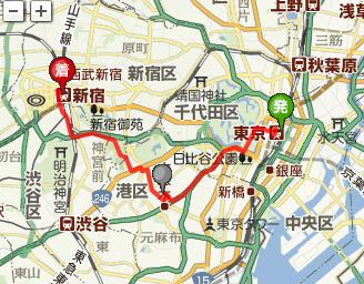 東京駅~東京ミッドタウン~新宿駅への経路探索結果を地図オブジェクト上に表示