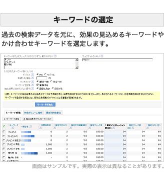 キーワードの選定:過去の検索データを元に、効果の見込めるキーワードやかけ合わせキーワードを選定します。