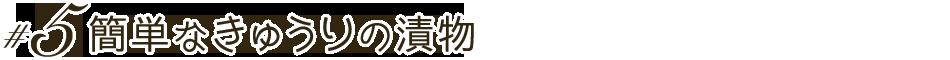 #5 簡単なきゅうりの漬物