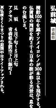 城と桜 日本最古にして、日本一美しいソメイヨシノ 弘前城 青森県 樹齢100年を越すソメイヨシノが300本以上も現存する。弘前城の周囲を約2千6百本の桜が彩る光景は、息をのむ美しさ。 ※弘前さくらまつりの期間中はライトアップされる