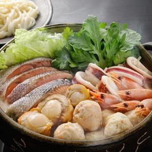 魚介たっぷり味噌仕立てのお鍋