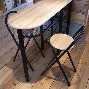 ハイテーブル&チェア2脚セット
