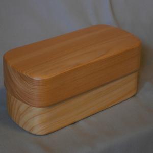木製桧長角型紀州漆器 一段弁当箱