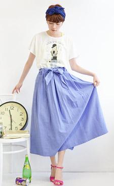ふんわりAラインスカートで女子度アップ!爽やかカラーで魅せる、大人のサマーコーデ!<br><br>