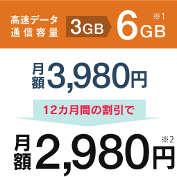 高速データ通信3GB→6GB ※1 月額3,980円が 12ケ月の割引で月額2,980円※2