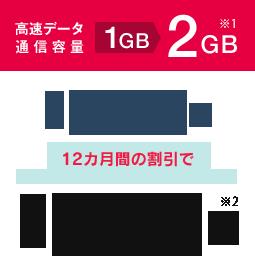 高速データ通信1GB→2GB ※1 月額2,980円が 12ケ月の割引で月額1,980円※2