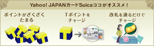 Yahoo! JAPANカードSuica ココがオススメ! ポイントがざくざくたまる Tポイントをチャージ 改札を通るだけでチャージ